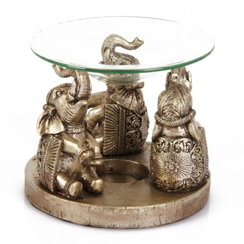 Elephant Design Oil Burner - Gold finish home decor Elephant wax melt burner